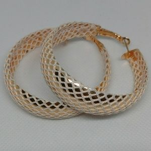 Gold tone hoop earrings with white netting unique
